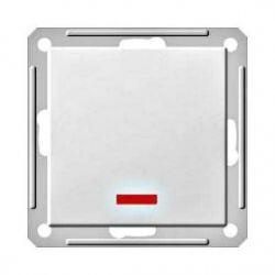 Выключатель 1-о клавишный 2-х полюсный с индикатором (250В, 16А, матовый хром)