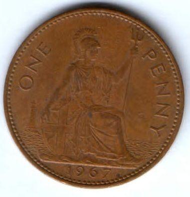 1 пенни 1967 г. Великобритания