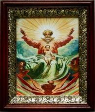 Новозаветная Троица (19х22), темный киот