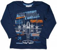 Лонгслив для мальчика темно-синий со схемами самолетов