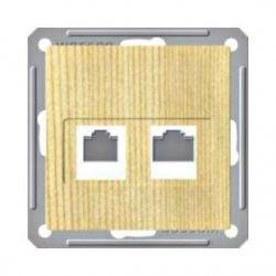 Розетка телефонная 2xRJ11 (160В, 1А, сосна)