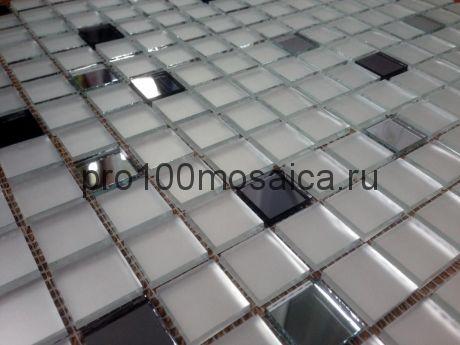 MSD20 Серебро матовое+серебро+графит. Мозаика зеркальная серия PERLA, 328*328 мм (VIVERE)