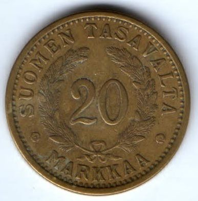 20 марок 1934 г. редкий год Финляндия