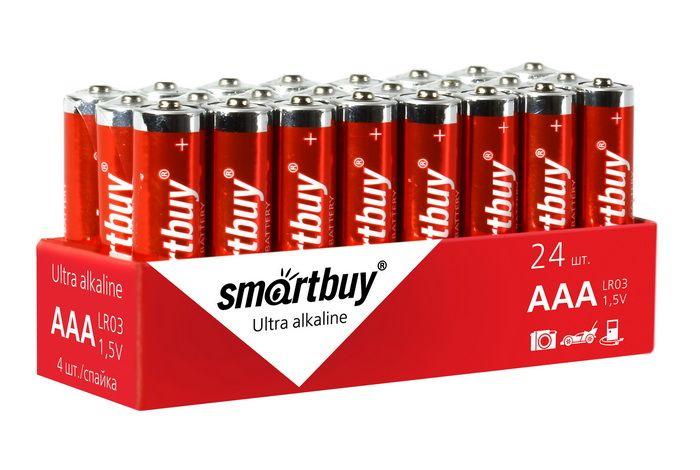 Батарейка алкалиновая Smartbuy LR03/4S (24/480) (AAA)