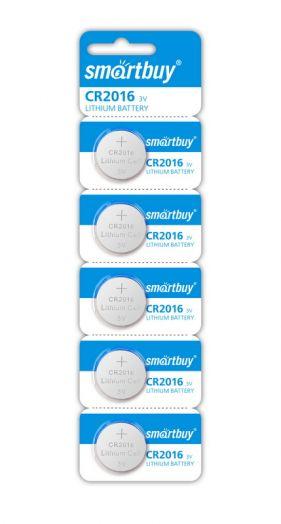 Батарейка литиевый элемент питания (диск) Smartbuy CR2016/5B