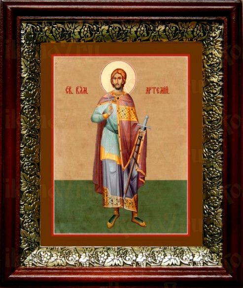 Артемий Антиохийский (19х22), темный киот