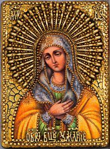 Икона Божьей Матери Умиление Серафимо-Дивеевская или Всех радостей Радость  14 х 19 см, роспись по дереву