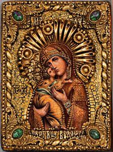Икона Божьей Матери Владимирская 14 х 19 см, роспись по дереву, самоцветы