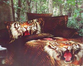 """Постельное белье 3D """"Caravella"""" Тигры Сатин, 2 спальное"""