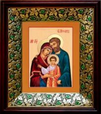 Святое Семейство (21х24), киот со стразами