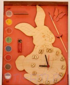 """Часы с циферблатом под роспись """"Зайка"""" с красками"""