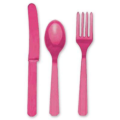 Столовые приборы ярко-розовые, 8 персон