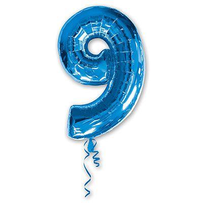 Шар-фигура Цифра 9 Синяя