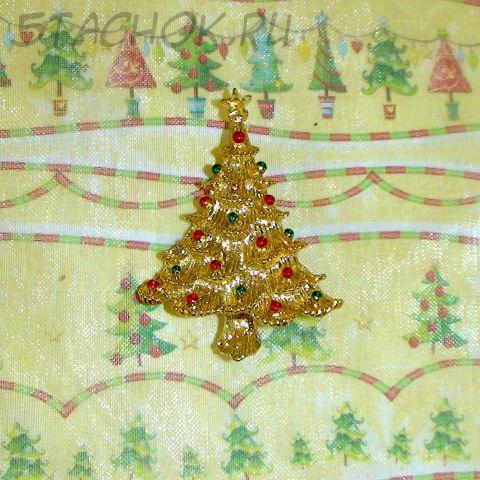 """Брошь """"Новогодняя елка"""" под золото/эмаль"""