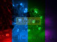 """Готовый набор: Гирлянда """"LED Galaxy Bulb String"""", 30 ламп, 10 м, в лампе 6 LED, цвет мультиколор, провод БЕЛЫЙ каучуковый, влагостойкая IP54"""