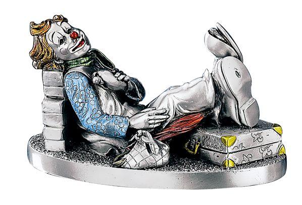 Серебряная коллекционная фигурка клоуна-путешественника (Италия)