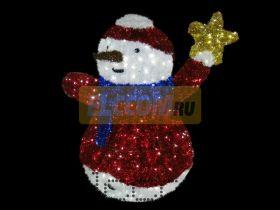 """Фигура """"Снеговик со звездой"""", LED подсветка, выс.150см"""
