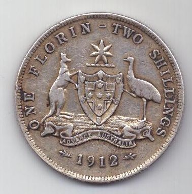 1 флорин 1912 г. редкий год. Австралия . Великобритания