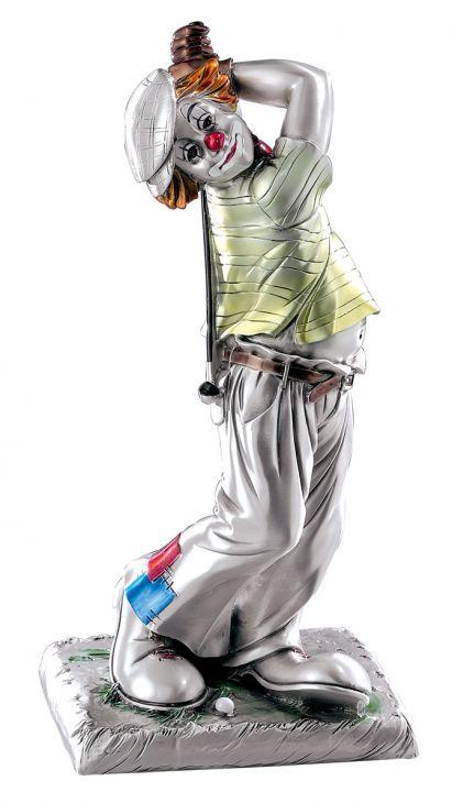 Серебряная коллекционная фигурка клоуна-гольфиста (Италия)