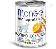 Monge Dog Monoproteico Fruits Паштет для собак из индейки с рисом и цитрусовыми (400 г)