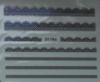 Водная наклейка для дизайна ногтей D176 черный