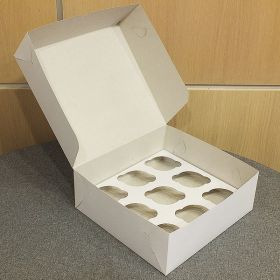 Короб картонный белый под 9 капкейков 25х25х10см 10шт/уп