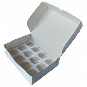Короб картонный белый под 12 капкейков 33х25х10см 10шт/уп