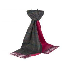 Роскошный двусторонний кашемировый шарф (100% драгоценный кашемир), СИНИЙ ТВИД /ЯРКО РОЗОВЫЙ  BLUE TWEED & PINK ,   высокая плотность 7