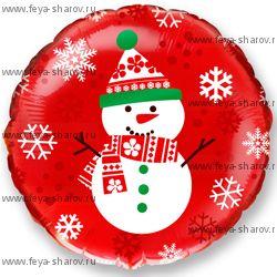 Шар фольгированный Снеговик 46 см