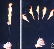 Один факел превращается в пять, а затем в трость (трость - серебро)