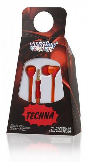 Наушники вакуумные SmartBuy® TECHNA, плоский кабель, красн/оранжевые