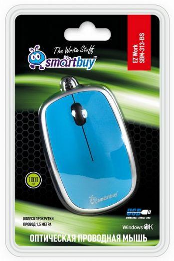 Мышь проводная Smartbuy 313 голубая/серебро