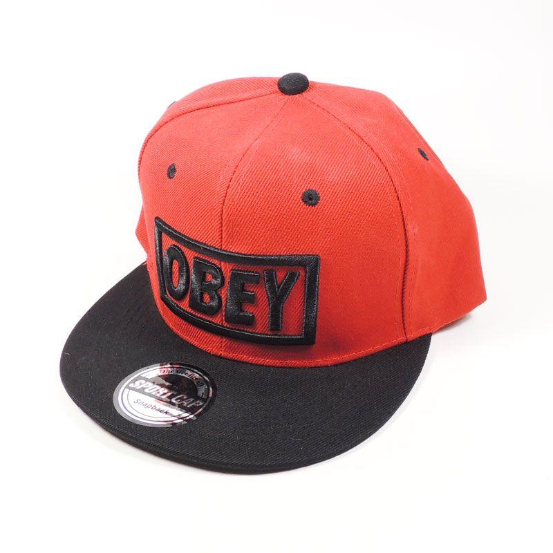 Кепка Obey (красная с черным козырьком)