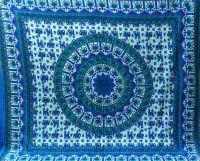 Покрывало на кровать из хлопка с Мандалой, Индия, сине-зелёное