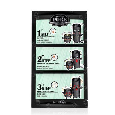 Корейский набор патчей для удаления черных точек Black Out Pore 3-Step Nose Pack Secret Key