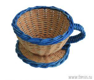 Плетеная конфетница, синяя