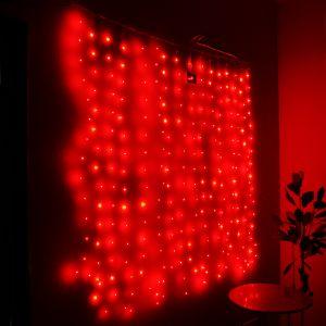 """Занавес """"Светлячок"""" красный, 256 минисветодиодов, 1.6х1.6м"""