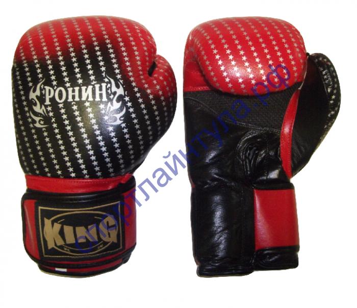 Боксерские перчатки Y-713A RONIN KING натуральная кожа, черно-красные