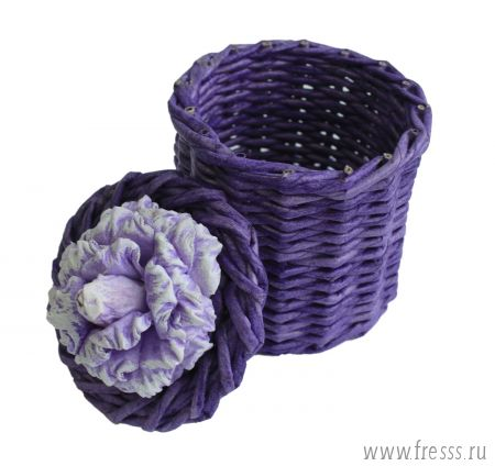 Плетеная шкатулка тубус, сирень
