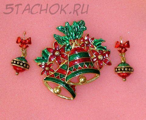 """Комплект брошь и серьги """"Новый год"""" под золото/эмаль"""