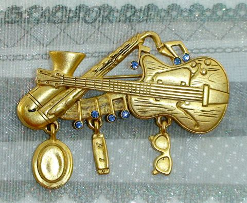"""Брошь """"Джаз бэнд"""" под античное золото/стразы"""