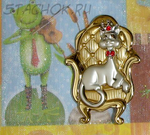 "Брошь ""Королева-кошка"" под золото/серебро/стразы"