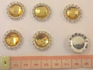 Кабошон со стразами, цвет основы - серебро, 21 мм (1уп = 10шт), Арт. КБС0051