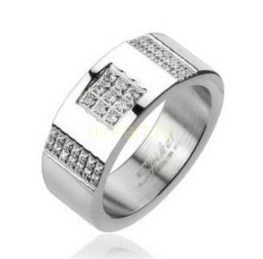 Стильное стальное кольцо с искусственными бриллиантами (арт. 280104)