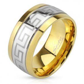 Стильное позолоченное кольцо Spikes с орнаментом Версаче (арт. 280110)