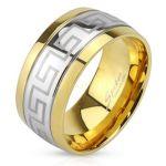 Стильное позолоченное кольцо Spikes с орнаментом Версаче