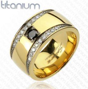 Позолоченное титановое кольцо Titanium Spikes с искусственными бриллиантами (арт. 280115)