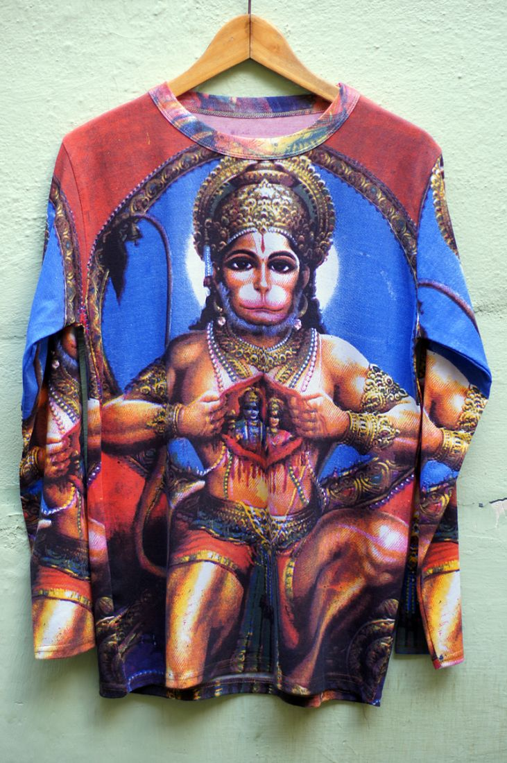 Мужская футболка с Хануманом, длинный рукав (отправка из Индии)