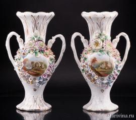 Пара декоративных ваз, большая, Coalport, Англия, кон. 19 - нач. 20 в