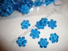 атласные цветочки 15мм синие 10шт
